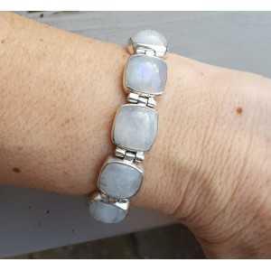 Zilveren armband vierkante regenboog Maanstenen en schuifslot