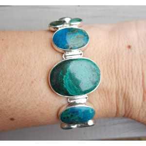 Zilveren armband met Chrysocolla, groene Onyx en Emerald