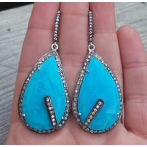Silber Ohrringe-set mit großen Türkis-und Cz