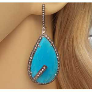 Silver earrings set with large Turquoise and Cz