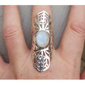 Silber ring mit Mondstein in der offenen gearbeitet-Einstellung 19