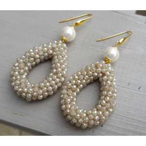 Ohrringe mit Perle und öffnen Sie Tropfen beige Kristalle