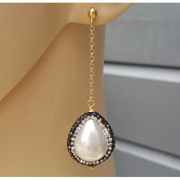 Long earrings with Pearl with crystal edge