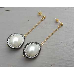 Lange Ohrringe mit Perle mit Kristall Rand