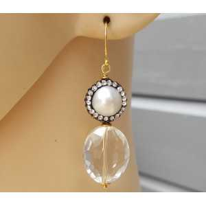 Earrings with oval Crystal and Pearl with crystal edge