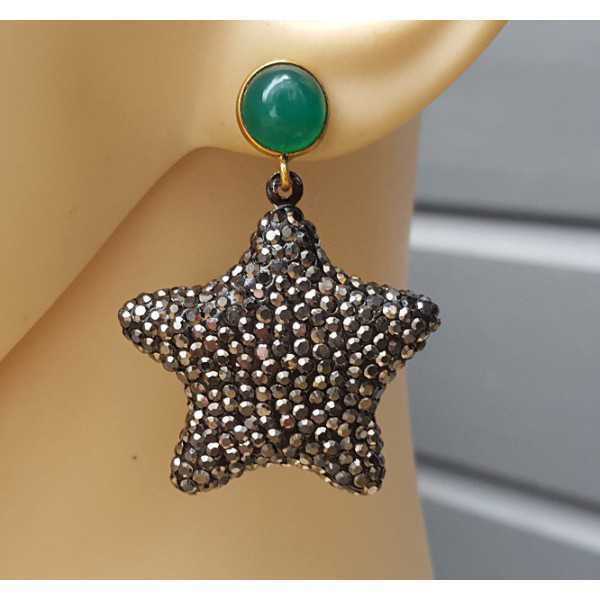 Vergoldete Ohrringe mit Stern Kristalle und grüner Onyx