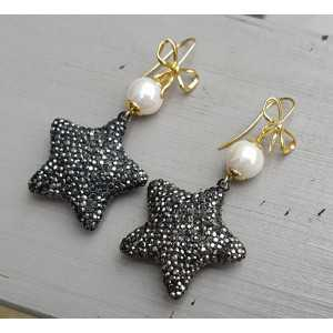 Earrings with Pearl and star crystals
