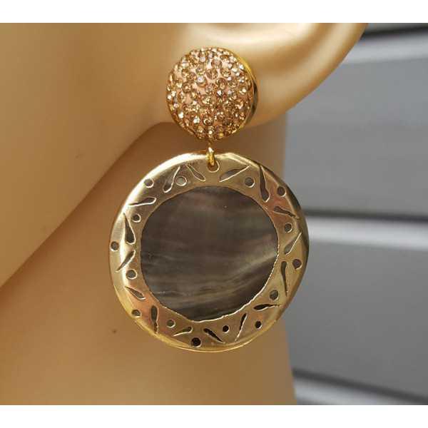 Gold-Ohrringe mit Goldenen Kristall-und shell