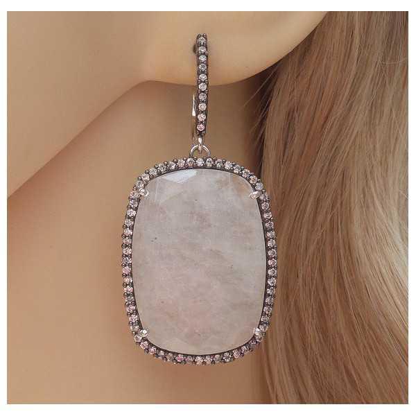 Silber Ohrringe-set mit rechteckigem Mondstein und Cz