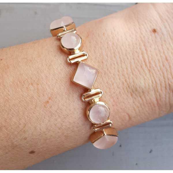 Rosé vergoldete Armband mit Runden und quadratischen Rosenquarz