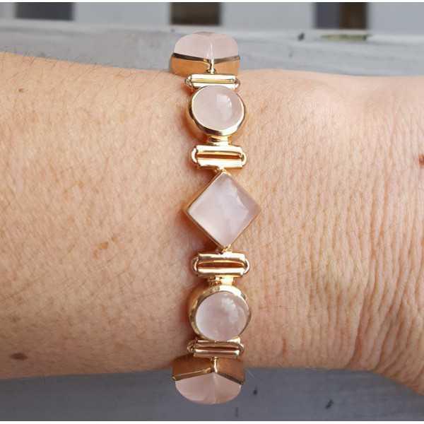 Rosé vergulde armband gezet met ronde en vierkante Rozenkwarts