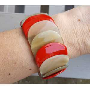 Bracelet made of buffalo horn red lacquered