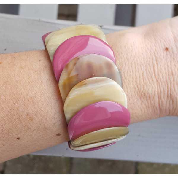Armband van Buffelhoorn paars gelakt