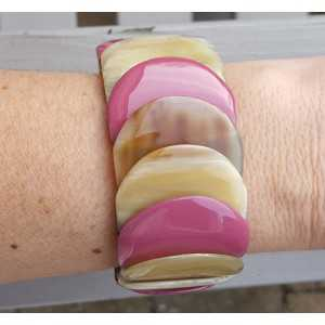 Armband aus Büffelhorn lila Lack