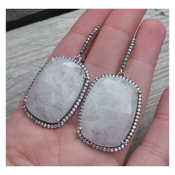Silver earrings set with rectangular Moonstone and Cz