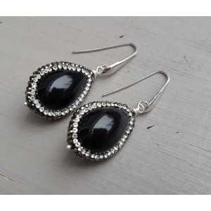 Earrings with black Agate and crystal edge