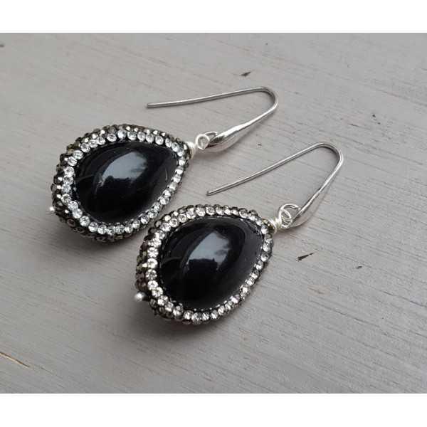 Ohrringe mit schwarzem Achat und crystal edge
