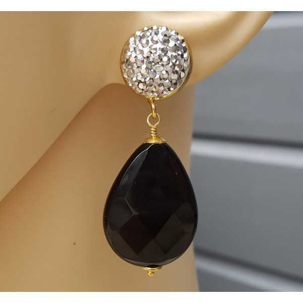 Gold plated earrings with Onyx and crystals