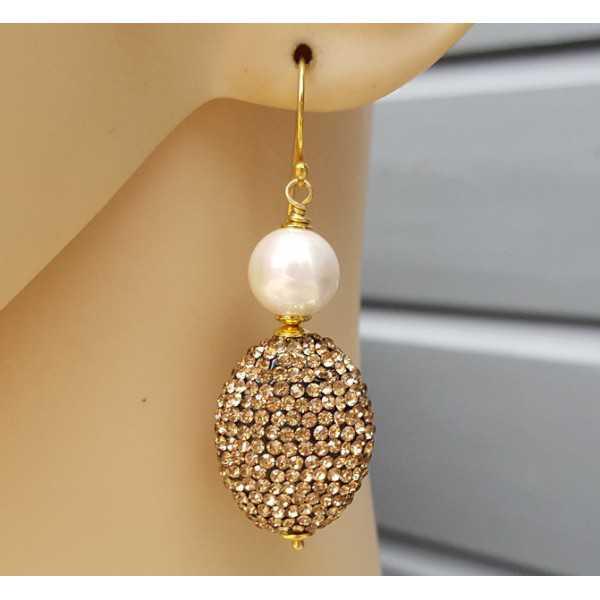 Vergoldete Ohrringe mit Perle und Goldenen Kristall
