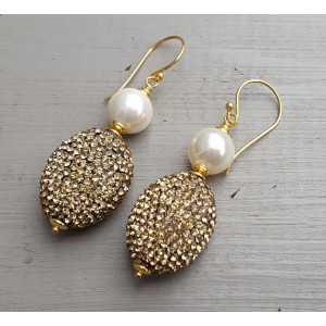 Goud vergulde oorbellen met Parel en gouden kristallen