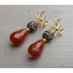 Gold-plated earrings with Carnelian and crystals