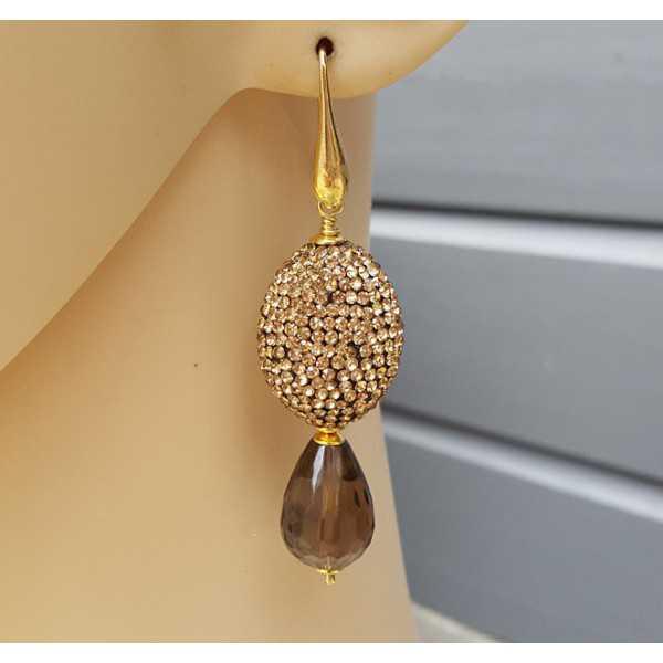 Vergoldete Ohrringe mit Smokey Topaz und gold Kristalle