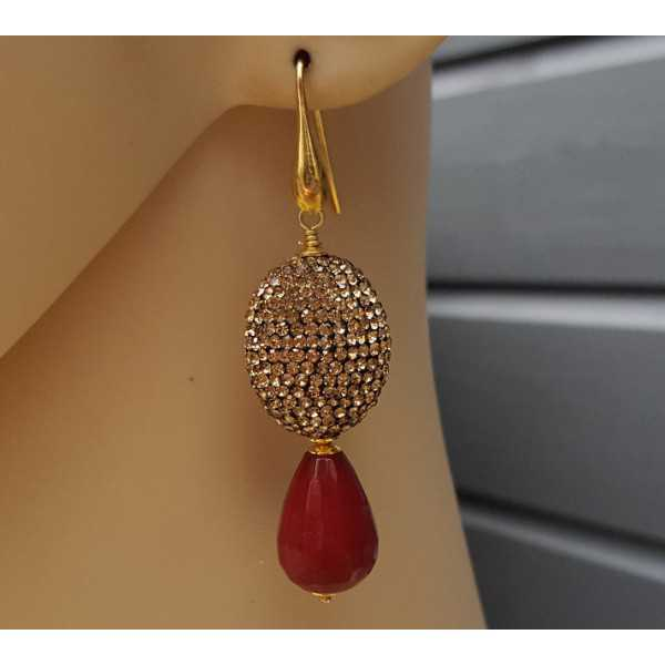 Gold plated earrings with red Jade and gold crystals