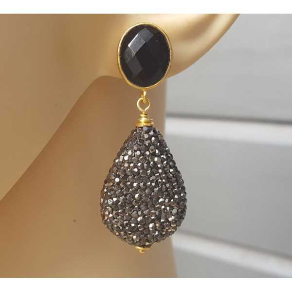 Gold-plated earrings drop crystals and black Onyx