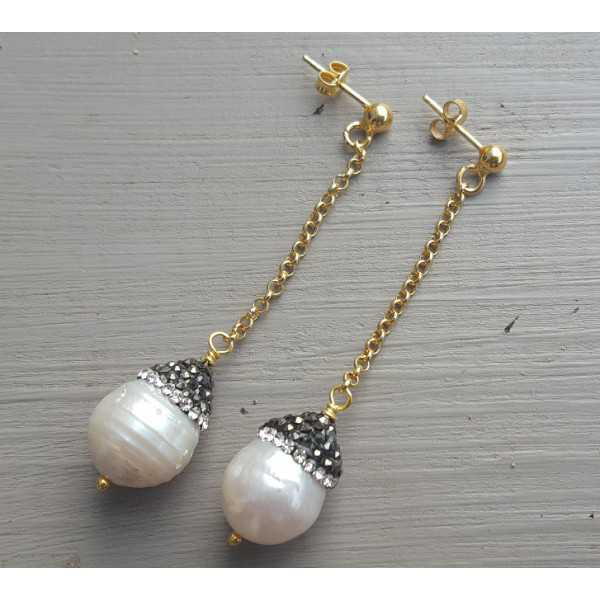 Long earrings with Pearl with crystals