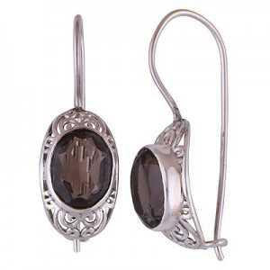 Silber Ohrringe mit ovalen Smokey Topaz und hasp