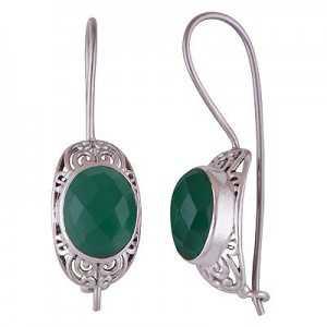 Zilveren oorbellen met ovale groene Onyx en sluithaak