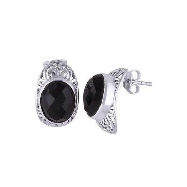 Silber oorknoppen set mit ovalen schwarzen Onyx