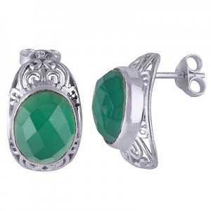 Silber oorknoppen set mit ovalen grünen Onyx
