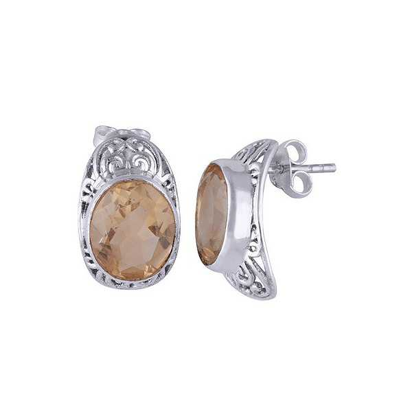 Silver oorknoppen set with oval Citrine