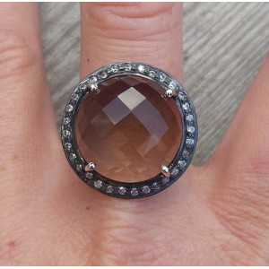 Silver ring set with a round Smokey Topaz and Cz 19 mm