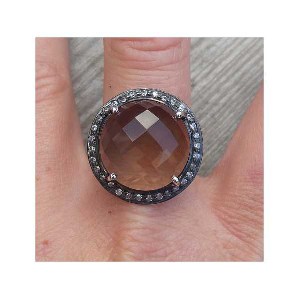 Silber ring set mit einem Runden Smokey Topas und Cz 19 mm
