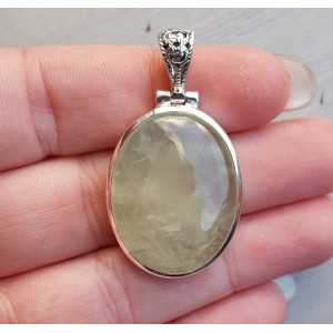 Zilveren edelsteenhanger ovale cabochon Prehniet