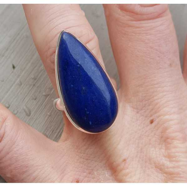 Silber-ring mit einer schmalen, tropfenförmigen Lapislazuli 17 mm