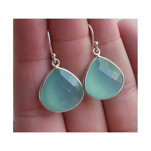 Silver earrings with faceted aqua Chalcedony briolet