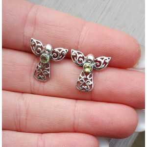 Silber oorknoppen angel-set mit Peridot