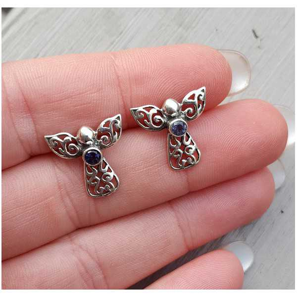 Silver oorknoppen angel set with Ioliet