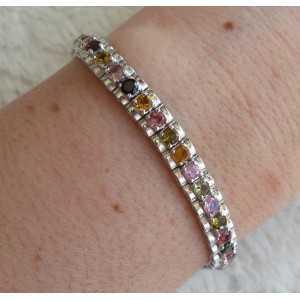 Silver bracelet set with round facet cut Toermalijntjes