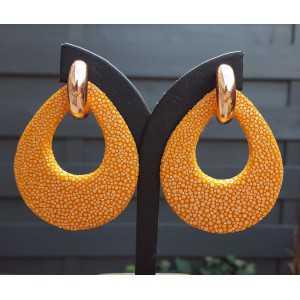 Creolen met oranje Roggenleer druppel