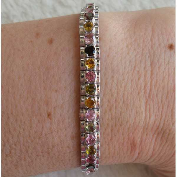 Silber Armband-set mit round facet cut Toermalijntjes
