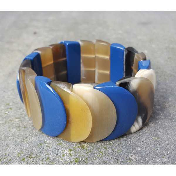 Bracelet made of buffalo horn blue lacquered