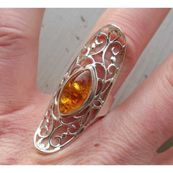 Silber ring mit marquise Amber 17 mm