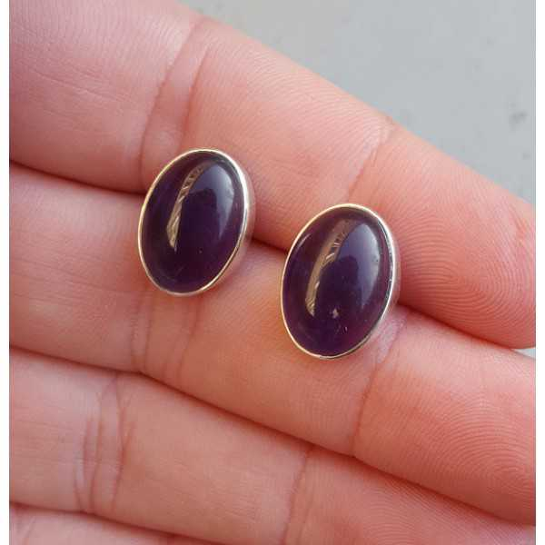 Silver gemstone oorknoppen with cabochon Amethyst