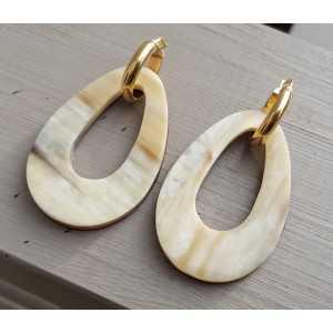 Kreolen mit buffalo horn Anhänger double wear weiß/ Braun Leder