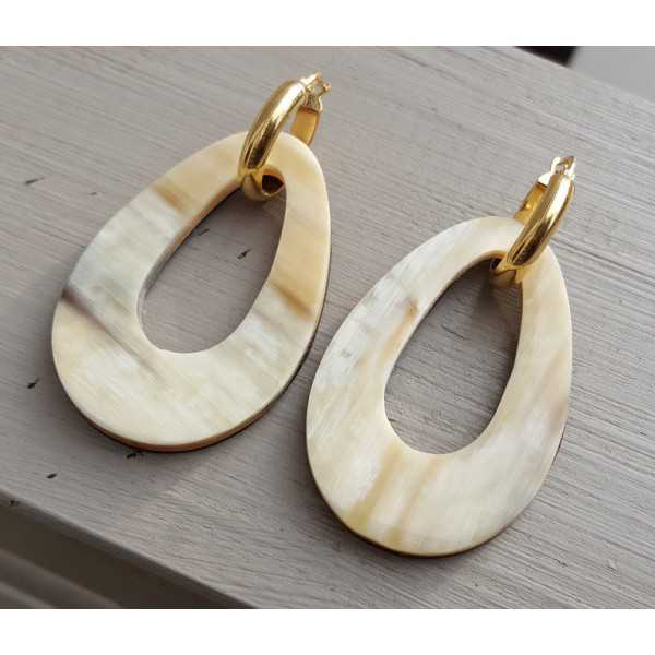 Creoles with buffalo horn pendant double wear white/ brown leather