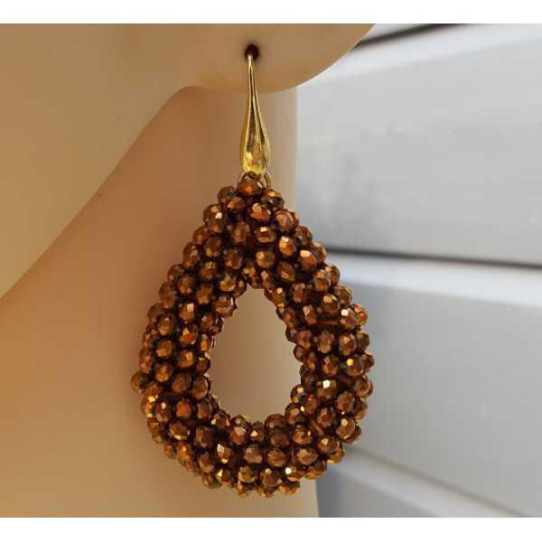 Vergoldete Ohrringe mit offenem drop bronze farbigen Kristallen